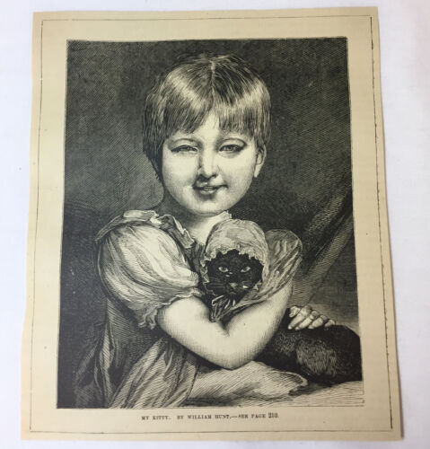 1877 magazine engraving~ GIRL WITH CAT ~ My Kitty, William Hunt