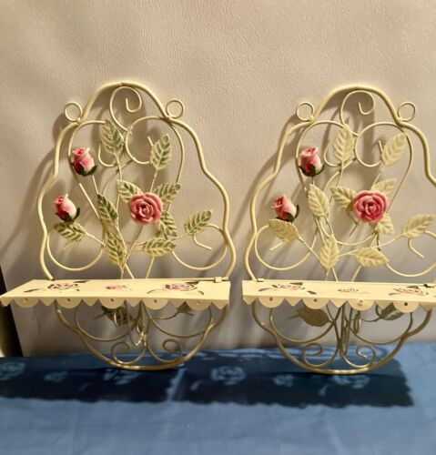 Pair Vintage tole painted roses and leaves cream metal shelves foldable