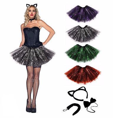Hexe Katzenkostüm Spinnennetz Tütü Damen Zubehör Halloween Karneval Fasching