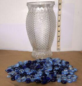 "Tall Diamond Cut Clear Glass Hurricane Vase 9"" x 4"" w Blue"