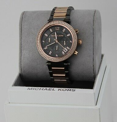 NEW AUTHENTIC MICHAEL KORS PARKER ROSE GOLD GREY CRYSTALS WOMEN'S MK6440 WATCH
