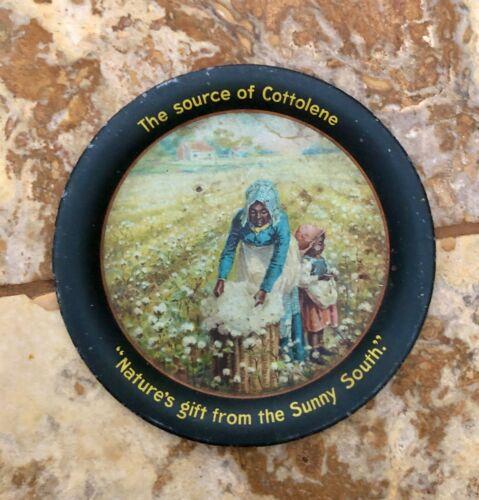 "Vintage ""The Source of Cottolene"" Tin Advertising Metal Tip Tray Black Americana"