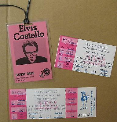 ELVIS COSTELLO Massey Hall CANADA 1978 CONCERT Ticket & BACKSTAGE Pass NICK LOWE