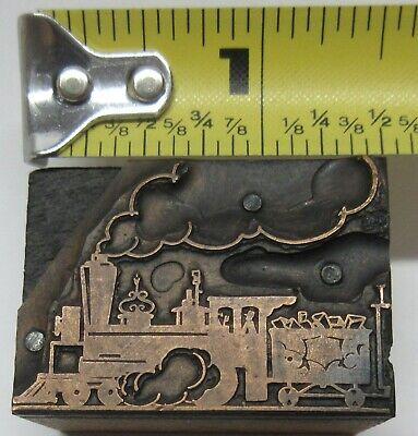 Vintage Wood Metal Print Block Ink Stamp Steam Train Wood Car