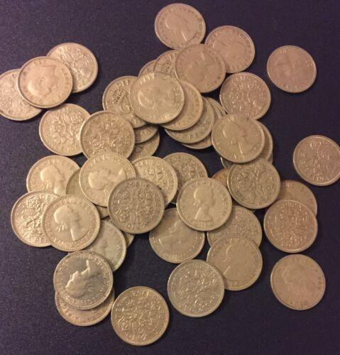 25 Sixpence Coins Wedding Gift Something Old UK English 6 Pence Free Shipping!