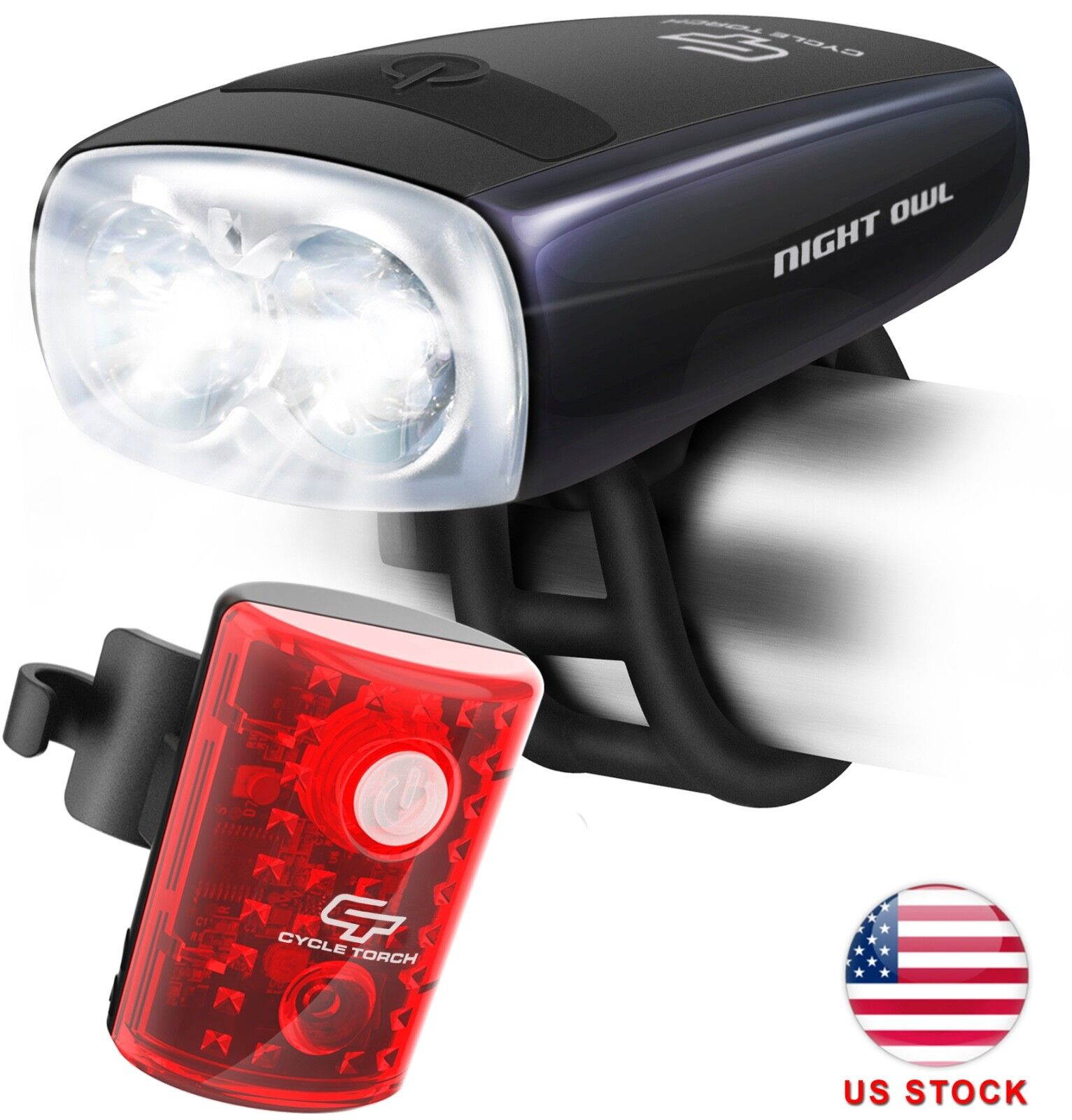 Cycle Torch Night Owl USB Rechargeable Bike Light Set, Perfe