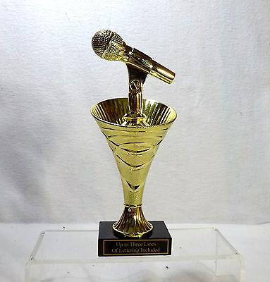 MICROPHONE TROPHY MUSIC  BLACK MARBLE BASE #2 KARAOKE - Microphone Trophies