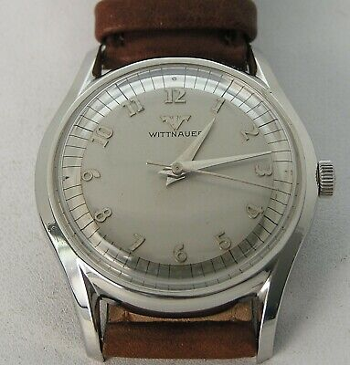 1950 Mid-Century Stainless Wittnauer Longines Men's Watch Mirror & Silver Dial