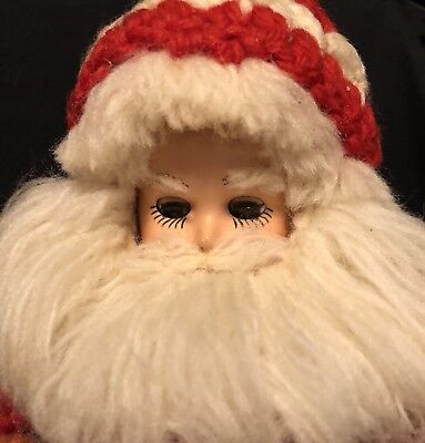 "10"" Vintage Santa Claus Hard Plastic Dress Me Craft Doll Christmas Crocheted TLC"