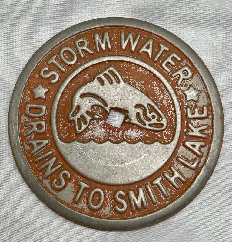 Old Rare Vintage Storm Water Drains Smithville  Sign Fishing Lake Bass game fish