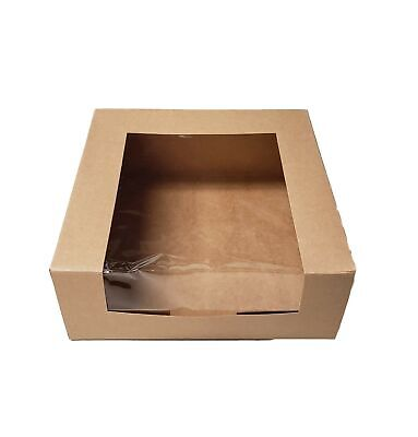 Window Bakery Box 9 X 9 X 3 12 Kraft Paperboard Waterfall - 15 Pieces