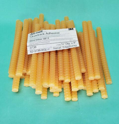 """3M 3738 8"""" x 5/8"""" Dia Tan Hot Melt Glue Stick Quadrack Adhesive Jetmelt Jet Melt"""