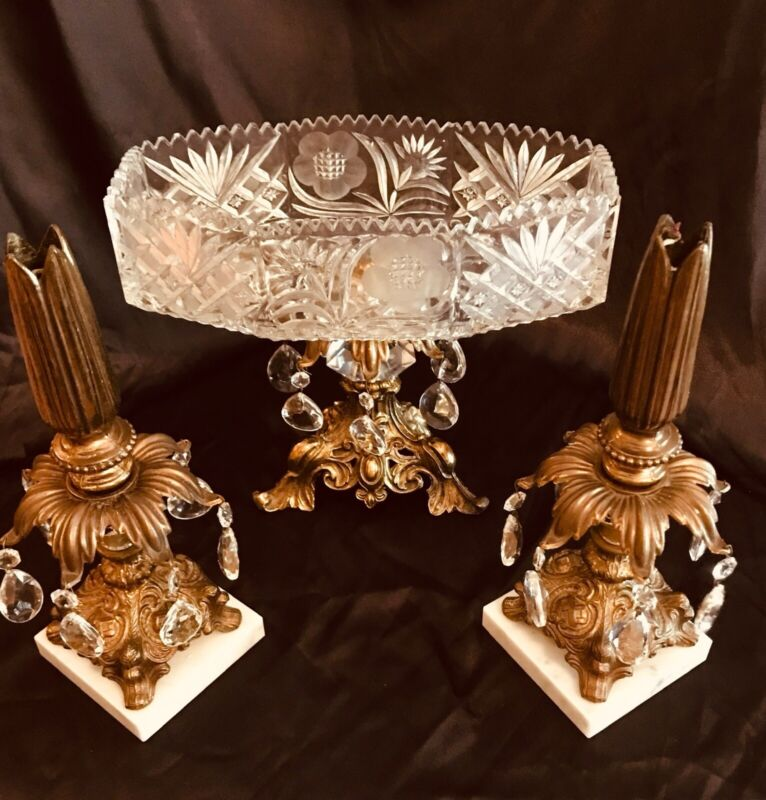 Vintage Cornell 3 Piece Crystal Brass Marble Centerpiece & Candlestick Holders