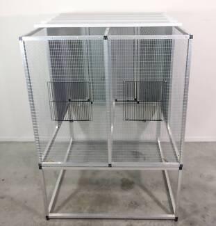 Bird breeding aviary / cage aluminium suspended frame double bay