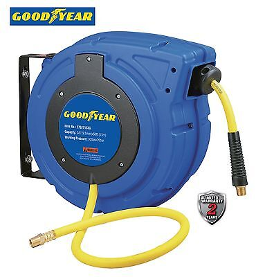 """GOODYEAR Enclosed Retractable Air&Water Hose Reel, 3/8"""" 50 ft. 300PSI AutoRewind"""