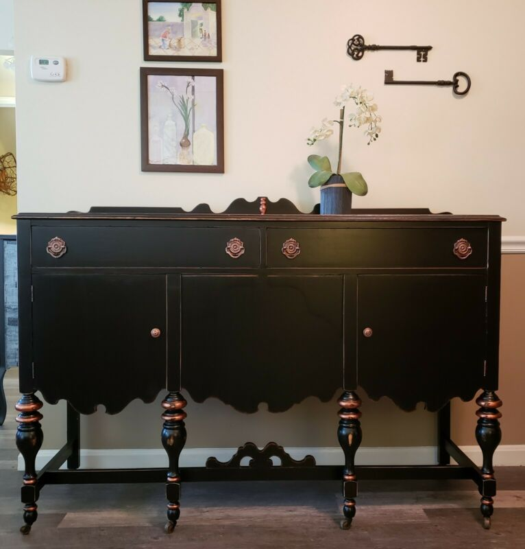 SALE - Vintage Buffet - Painted & Aged in Black w/ Copper Accents