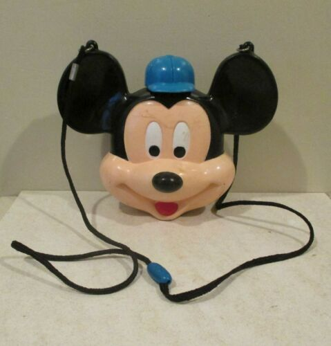 Vintage Disney Mickey Mouse Head Plastic Canteen With Shoulder Strap Lanyard