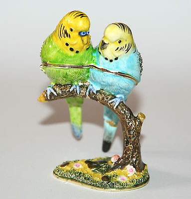 2 BUDGERIGAR Birds On Branch BudgiesTrinket Box / Ornament Gift *NEW*