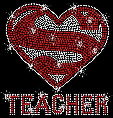 Super Teacher Teaching Sexy Cute Rhinestone Hot Fix Iron On Transfer](Teacher Teaching)