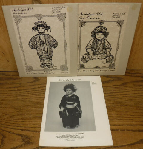 """Period Folk Chinese Japanese Asian Oriental Outfit Patterns for Dolls 14-17-19"""""""