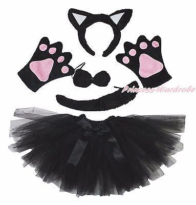 Halloween Party Adult Women Black Cat Headband Paw Tail Bow Gauze Skirt Costume - Black Cat Halloween Costumes For Women