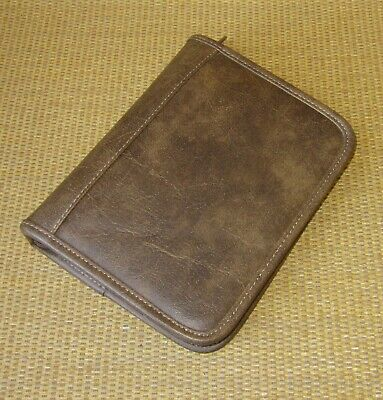 Compact Franklin Covey  Brown Faux Leather 1.25 Rings Zip Plannerbinder