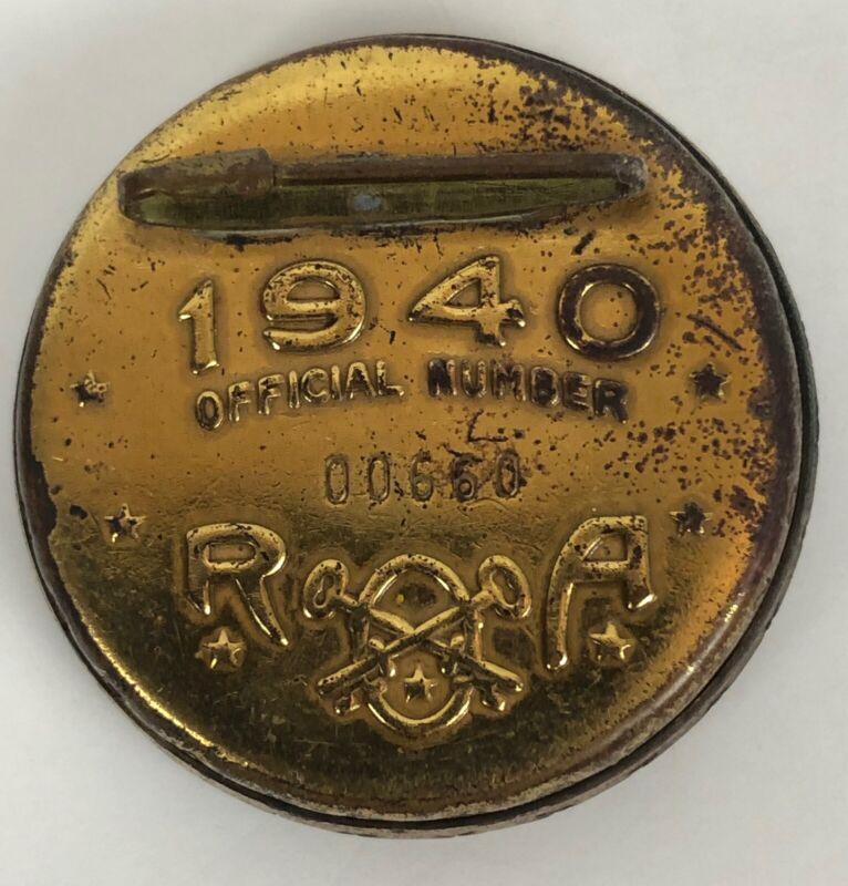 1940 Radio Orphan Annie ROA Premium Decoder Pinback Badge American Flag Eagle