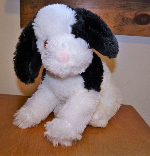 """Animal Alley Dog Plush White & Black Shaggy Floppy 13"""" Lovey"""