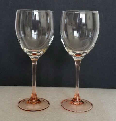 "Vintage Luminarc France Pink Rose Stem Red Wine Glasses Arcoroc 8"" Set of Two"