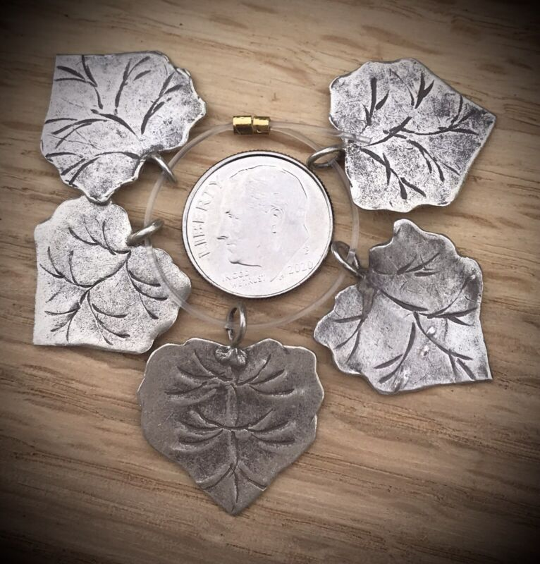 5 Hill Tribe Silver Flat Leaf Charms / Pendants