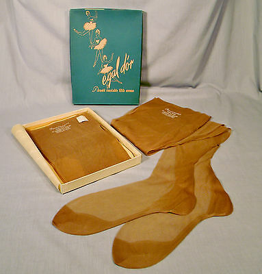 3 Pr. Vtg. Seamed Full Fashioned Nylon Garter Stockings Fancy Heel Taupe Nude 10