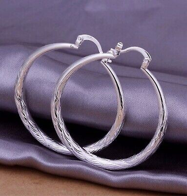 "Women 925 Sterling Silver 2"" Medium Round Diamond-Cut Etched Hoop Earrings"