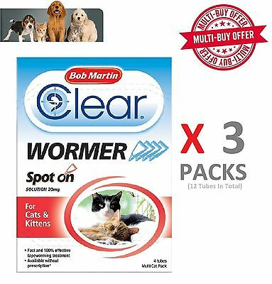 Bob Martin Spot On - Bob Martin Clear Spot On Wormer For Cats Kitten (4 Tubes) x 3 Packs Cat Worming