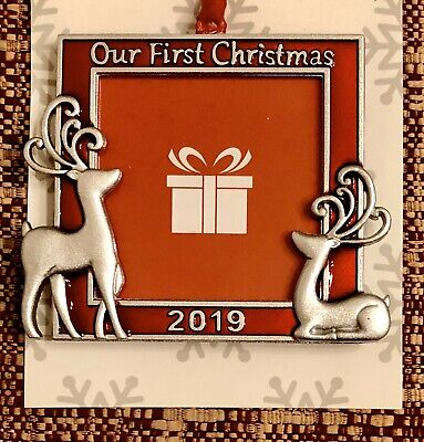 """CHRISTMAS TREE ORNAMENT PHOTO PICTURE FRAME 2019 - """"Our First Christmas"""" ()"""