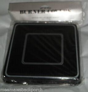 4 New Black White DIAMOND Look SQUARE STOVE Eye Range Cook TOP GAS BURNER COVERS