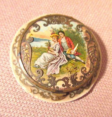 Antique 1800S French Bronze Celluloid Figural Scene Compact Trinket Box Mirror