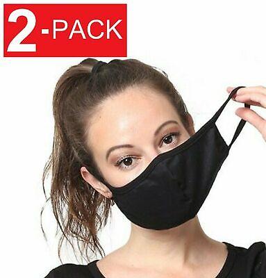2-Pack  Black Cotton Adult Face Mask – Reusable Washable Unisex Accessories