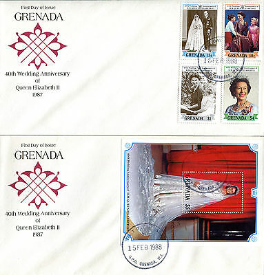 GRENADA 1988 QUEEN 40th WEDDING ANNIVERSARY PAIR OF FIRST DAY COVERS