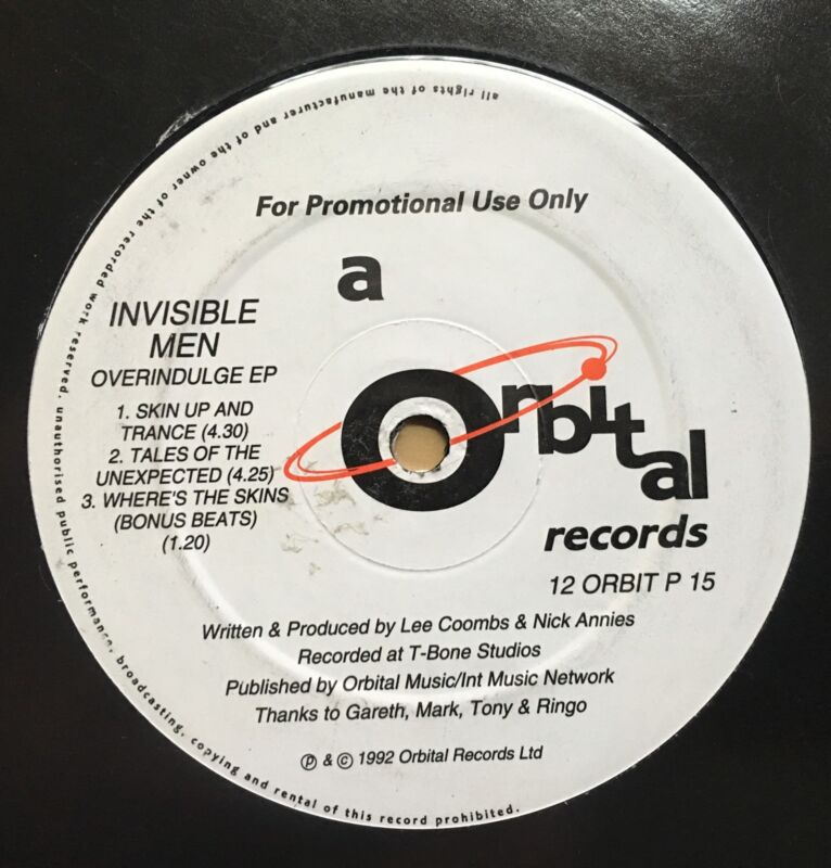 "Invisible Men Overindulge EP Orbital Records 12"" Vinyl Techno Breakbeat OLDSKOOL"