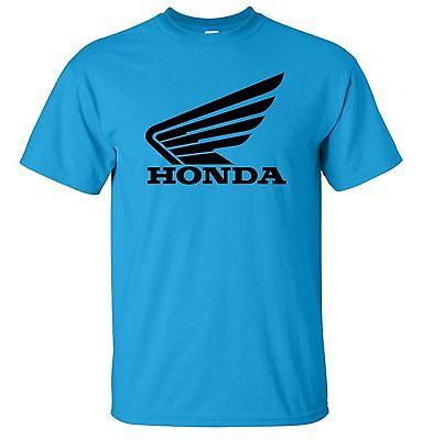 Honda Racing Motocross ATV T-Shirt Black Logo S-5XL Light Blue Shirt Color Wing -
