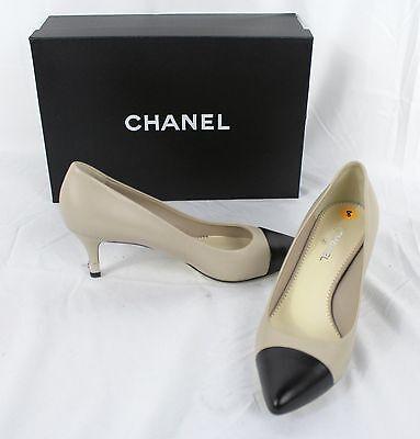 CHANEL~14P~Size 38 Lambskin Leather Pumps Beige/Black Cap-Toe Metal CC logo heel
