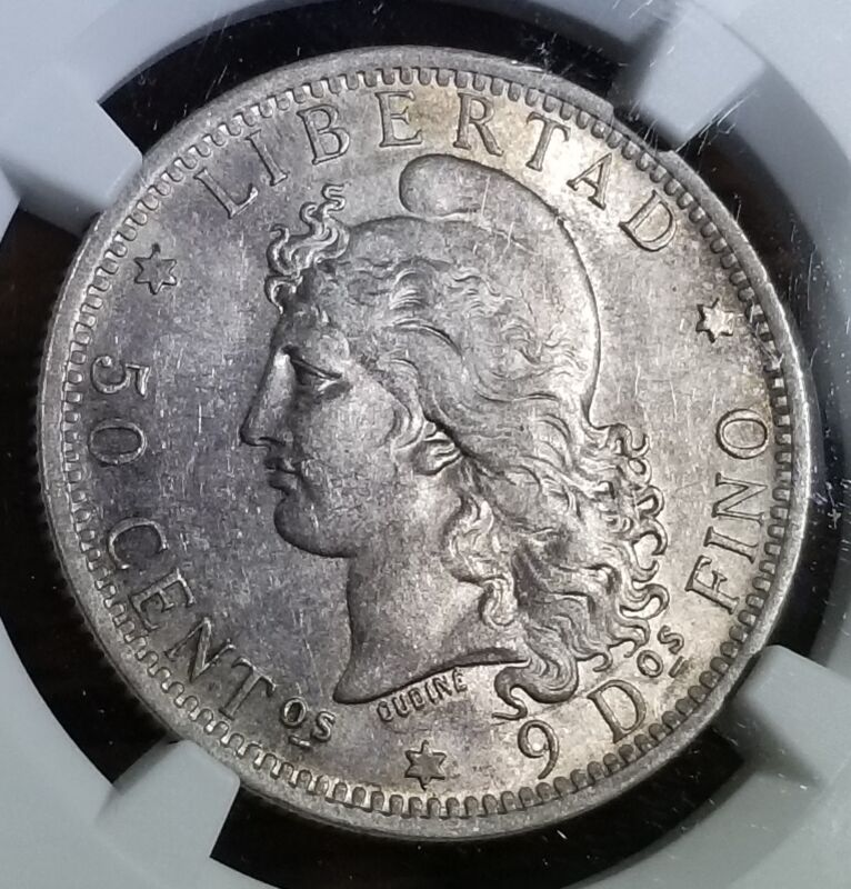 Argentina 1882 Silver 50 Centavos MS 62 NGC Scarce