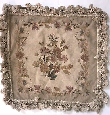 """18"""" X 18"""" Wool Needlepoint Pillow /Pink Floral on Beige Cushion Cover w/ Tassels"""