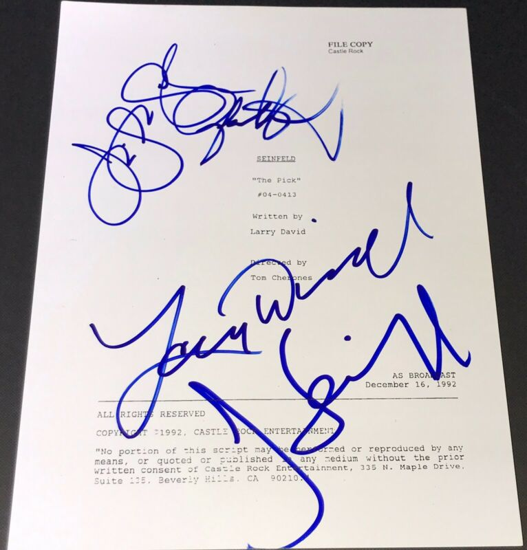 "JERRY SEINFELD LARRY DAVID & JASON ALEXANDER & JLD SIGNED ""THE PICK"" SHOW SCRIPT"