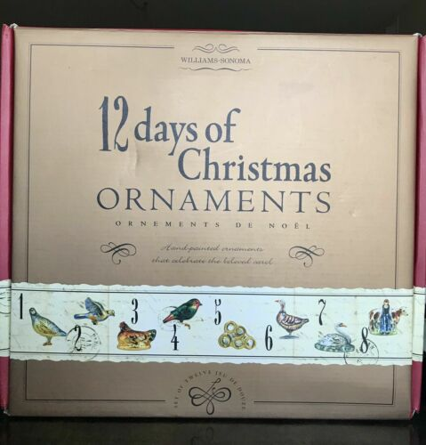 Williams Sonoma 12 Twelve Days of Christmas Glass Ornaments Set Complete