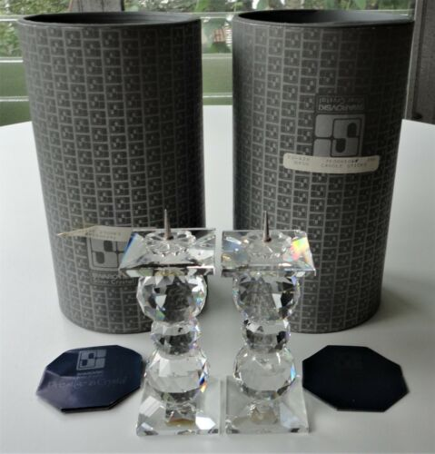 2 Canister Swarovski Silver Crystal 3 Ball 7600 NR 104 Pin Candle Stick 1 Mint
