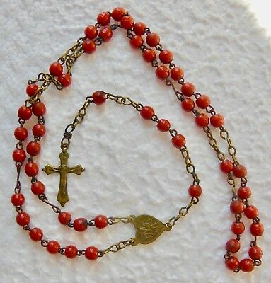 ROSARY antique ,pâte de verre brown red - ROSARY - 24 TER