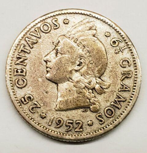 1952 * DOMINICAN REPUBLIC *  25 CENTAVOS * .900 SILVER *