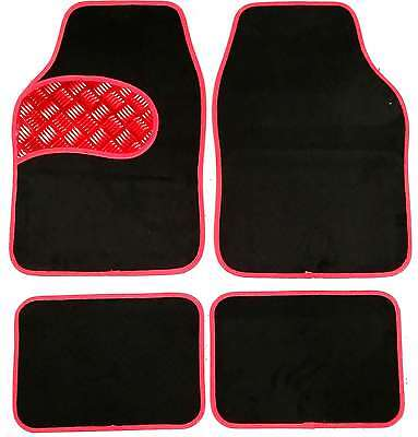 Universal Non slip Carpet Chequered Plate Floor Car Mats Black  Red Boarder 4pc