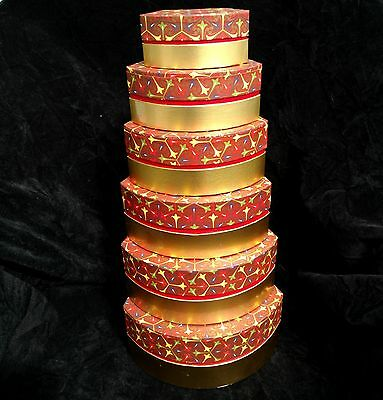 Set of 6 Nesting Decorative Cardboard Boxes Red Print Top~Metallic Gold Bottom